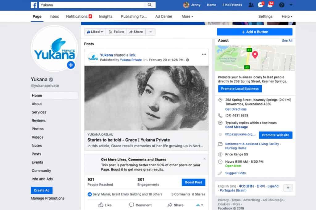 A typical Yukana Facebook page