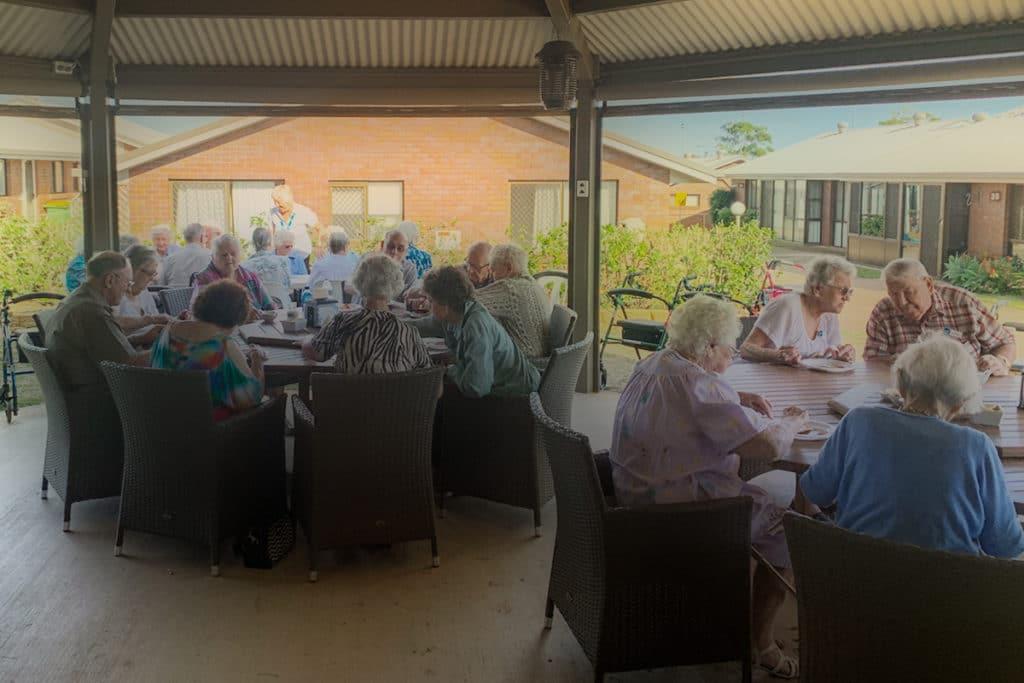 Residents enjoying their pancake breakfast